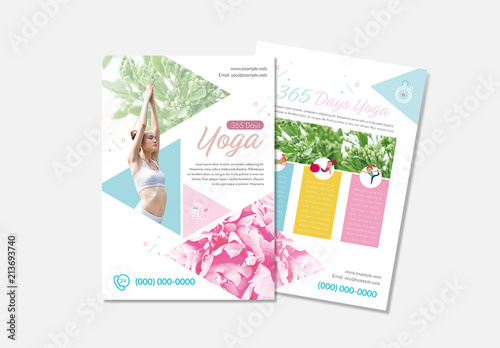Yoga Flyer Layout with Triangle Elements Buy this stock template
