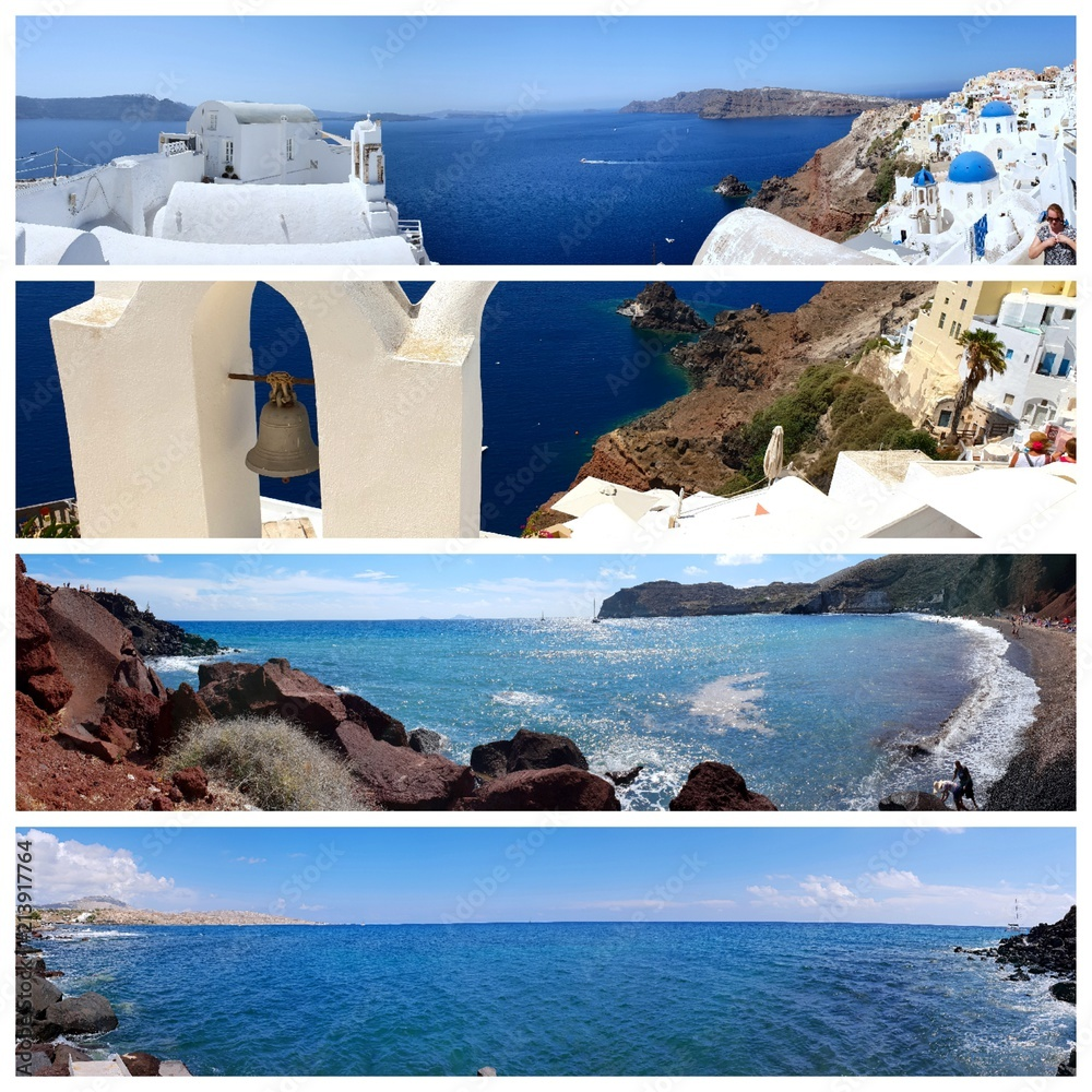 Collage Von Sommer Strand Bilder Strand Und Tropischen Meer A Collage Of Beautiful Summer Photos In Santorini Island Greece
