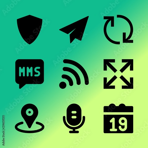 Vector icon set about mobile device with 9 icons related to letter