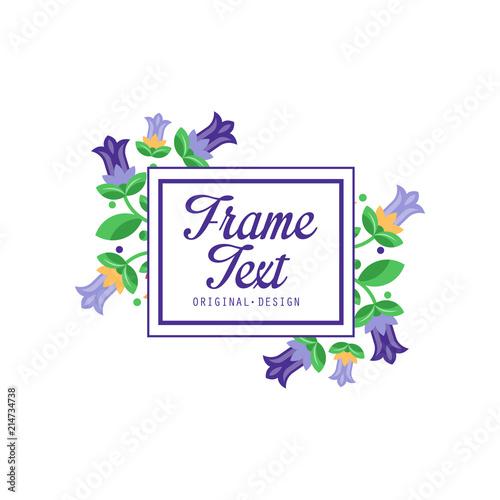 Frame text original design, elegant floral badge template, sign for