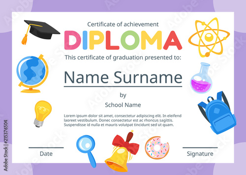 kids diploma certificate for preschool - Buy this stock vector and