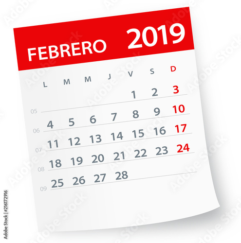 February 2019 Calendar Leaf - Vector Illustration Spanish version