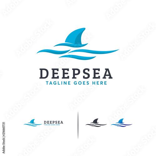 Ocean Logo designs vector, deep sea logo with wave template designs