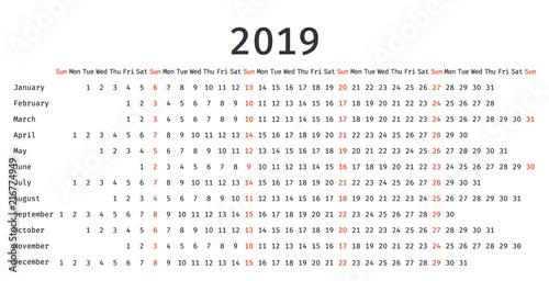 yearly calendar 2019 free printable