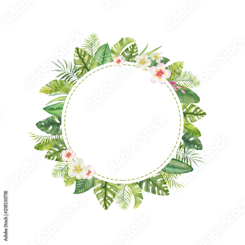 Watercolor hand painted frame with tropical flowers,leaves and