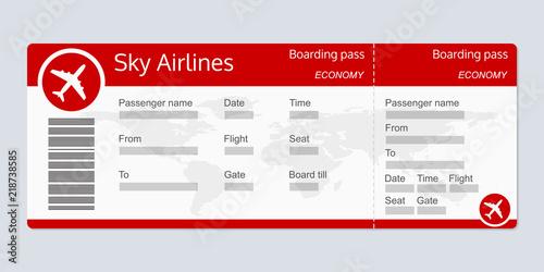 Plane ticket template Airplane flight ticket realistic blank