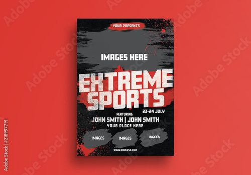 Sports Event Flyer Layout with Grunge Elements Buy this stock