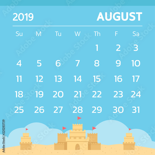 Calendar for August 2019 with sand castle theme - Vector - Buy this