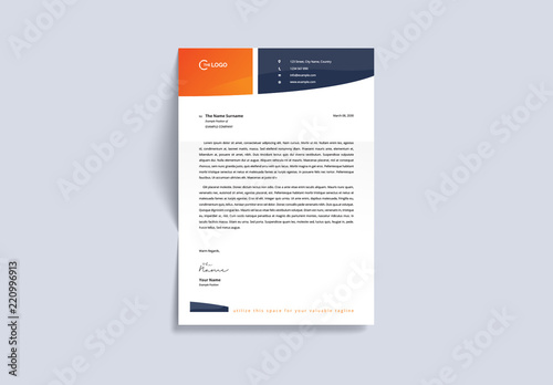 Letterhead Layout with Orange and Navy Accents Buy this stock - letterhead layout