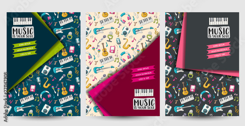 Music art flyer or posters set Background for advertisement, menu