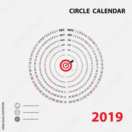 2019 Calendar TemplateCircle calendarCalendar 2019 Set of 12