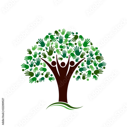 Family Tree with Hands Network Vector logo - Buy this stock vector