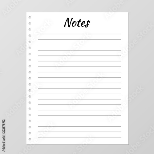Notes list template Daily planner page Lined paper sheet Blank