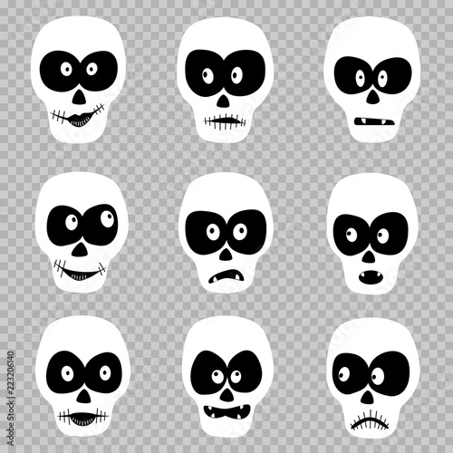 Cartoon day of the dead masks skull set template on transparent