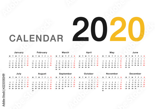 Calendar year 2020 vector design template, simple and clean design