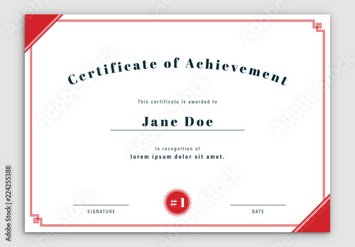 Certificate Layout with Red Double Border Buy this stock template