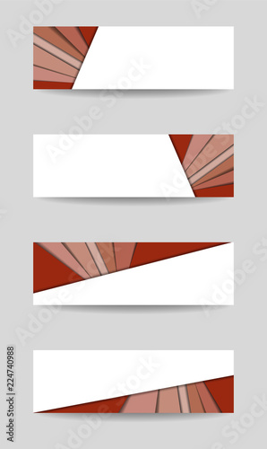 Set of four banner, header, footer templates Red pattern, white