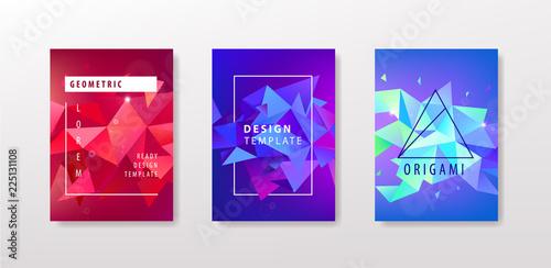 Vector set of colorful facet geometric covers design Triangular - Facet Design Pattern