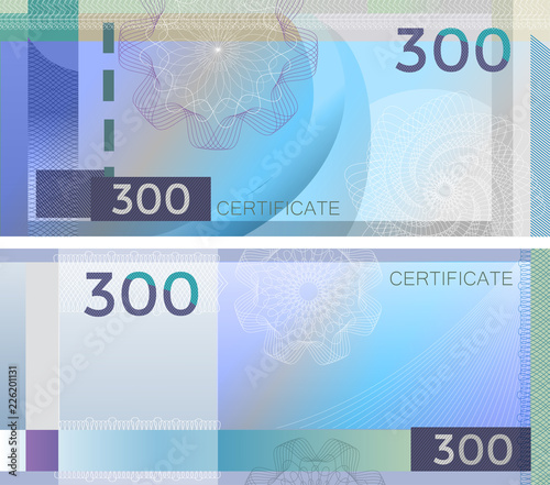 Voucher template banknote 300 with guilloche pattern watermarks and