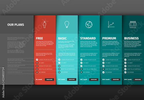 Product/Service Price Comparison Table Infographic Layout Buy this