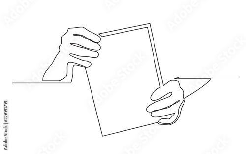 continuous line drawing of two hands holding blank sheet of paper