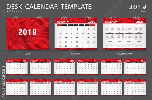 Calendar 2019, Desk calendar template, Set of 12 Months, Planner