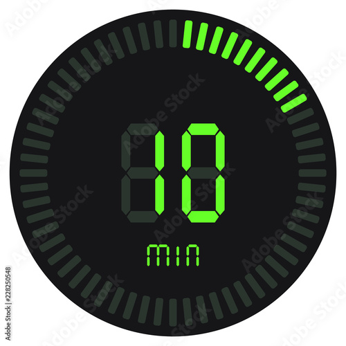 The green digital timer 10 minutes electronic stopwatch with a