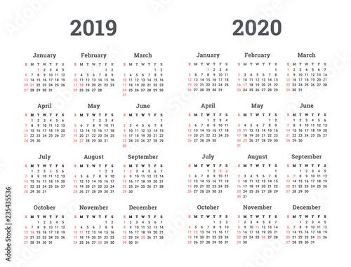 monday start calendar 2019