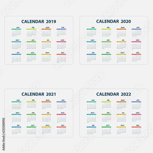 Calendar 2019, 2020, 2021 and 2022 Calendar templateCalendar design
