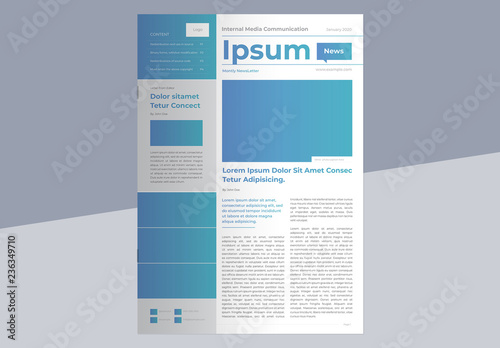 Business Newsletter Layout with Blue Gradient Accents Buy this