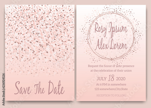 Rose gold glitter pink wedding card invitation - Buy this stock