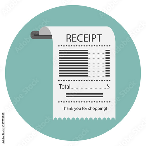 The concept of receiving a check about payment Receipt icon, paper