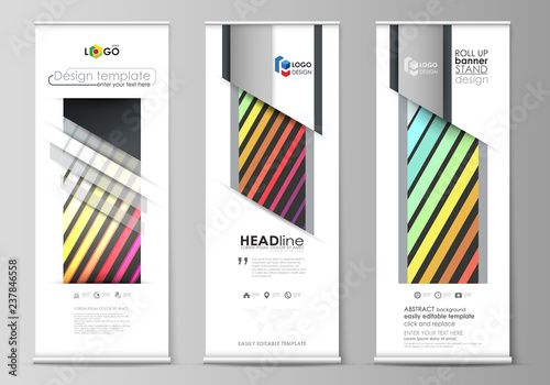 Roll up banner stands, geometric style templates, corporate vertical