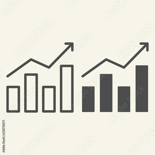 Diagram line and glyph icon Growth graph vector illustration