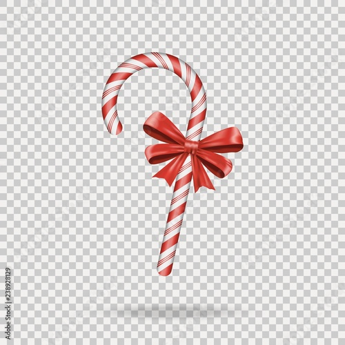 Realistic Christmas Candy Cane with red bow isolated on transparent