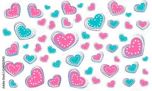 Fondo de corazones rosas y azules con lunares - Buy this stock