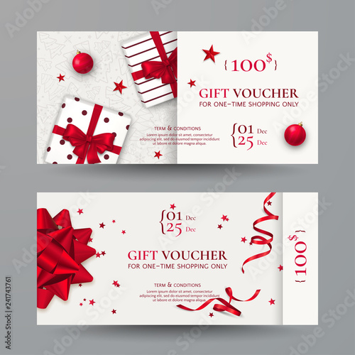 Vector set of elegant Christmas gift vouchers with realistic red