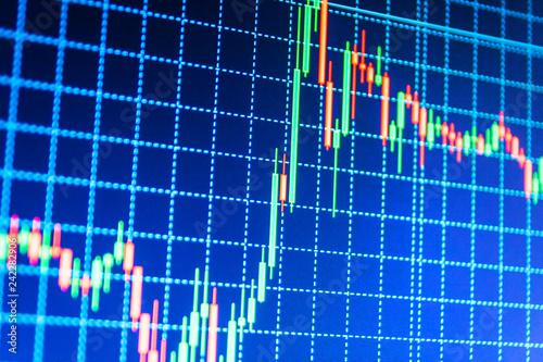 Market report on blue background Market analysis for variation