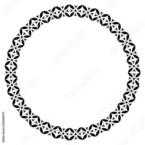 Islamic geometric figures ornament round frame Arabic circle border