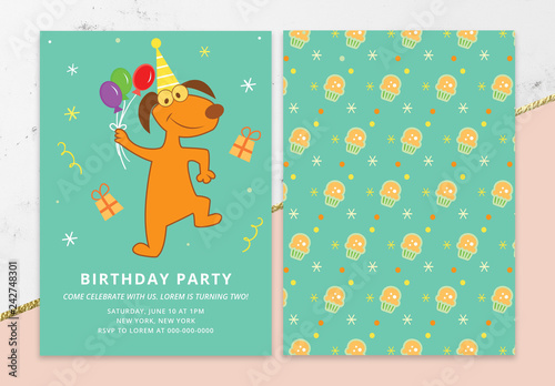 Birthday Invitation Layout with Animals Buy this stock template and