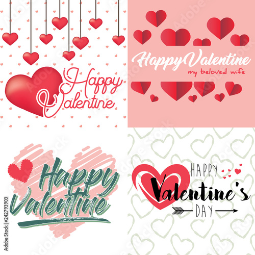 Vector Valentine\u0027s day cards templates - Buy this stock vector and