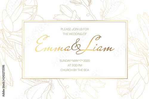 Wedding marriage event invitation card template Spring magnolia