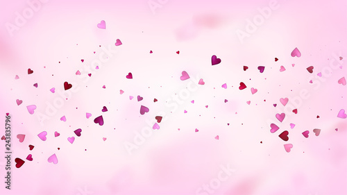 Falling Hearts Vector Confetti Valentines Day Wedding Pattern