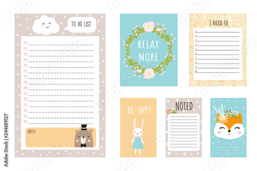 Set up planners and cute postcards in Scandinavian style Hand-drawn