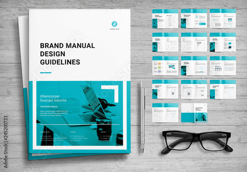 Brand Manual Layout with Teal Accents Buy this stock template and