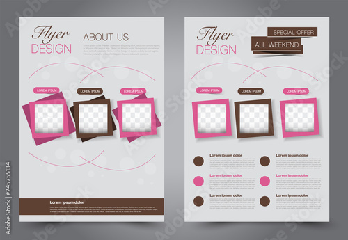 Abstract flyer template Business brochure design Pink and brown