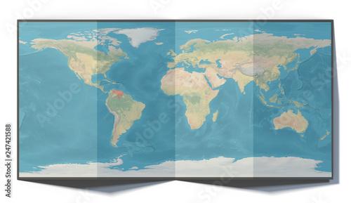 Cartina mondo, Venezuela, disegnata su un foglio piegato, planisfero
