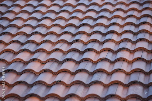 roof tile layer covered on top residential building - Buy this stock