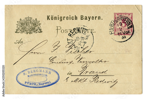 Old postcard of the late 19th century, business letter, Coat of arms