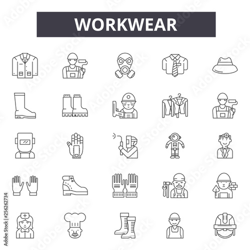 Workwear line icons for web and mobile Editable stroke signs